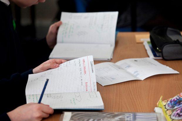 Students' maths workbooks