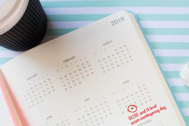 "Image of diary/planner showing days by month. Red circle around 26 June with red text ""GCSE and A level exam contingency day"". Planner set on green/white stripey background. Take-away drink cup on top left corner"