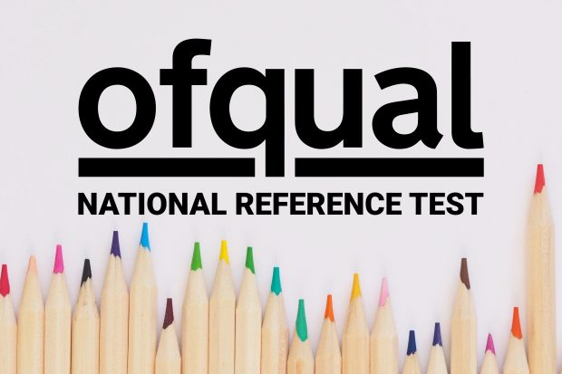 The Ofqual logo with words national reference test written below it. Underneath writing are 21 vertical colouring pencils, stacked against one another, of varying colours and sizes