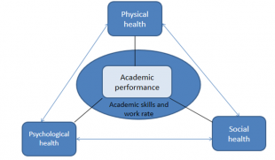 Image two is a triangle with text - on top point of triangle the text reads physical health, the bottom right point reads social health, the bottom left point reads psychological health. In the middle there is a block of text which reads academic performance. Underneath this there is text which reads academic skills and work rate