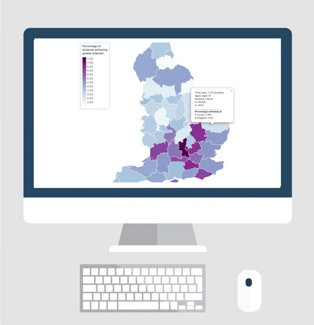 Country map showing county performance in GCSEs in 2018, For more information please contact public.enquiries@ofqual.gov.uk