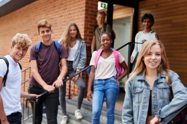 A level students gathered on school steps